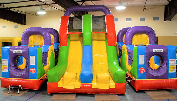 Double slide obstacle course bounce The Gathering Events party hall reception bounce inflatables celebration birthday wedding kids events hall rental shower