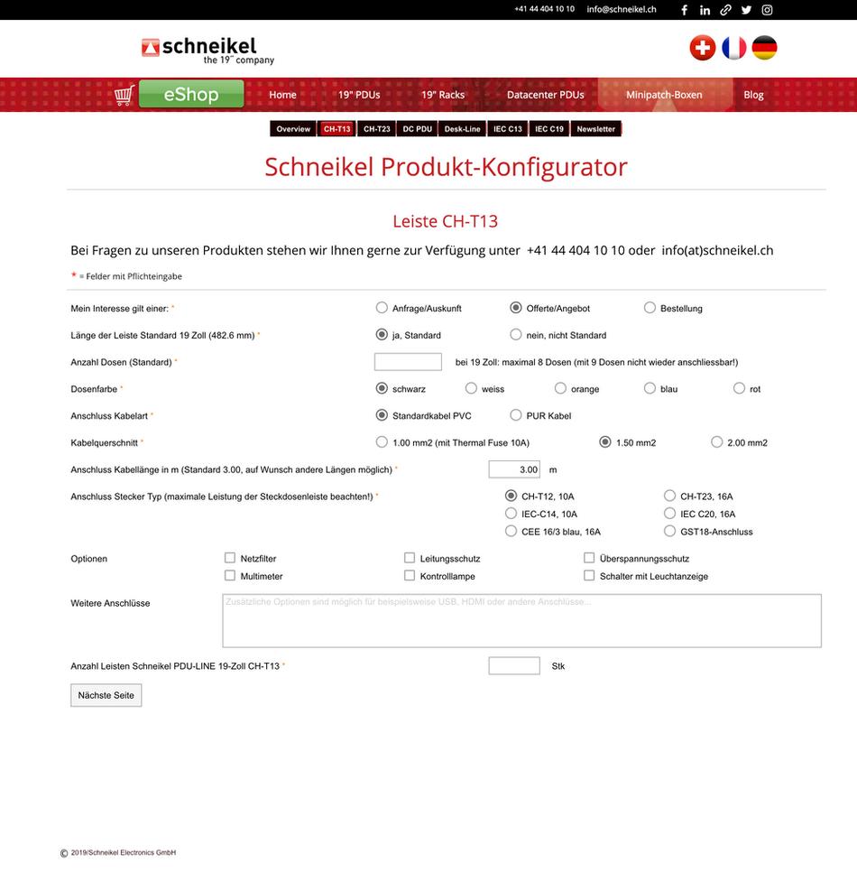 Neu! Schneikel Produkt Konfigurator