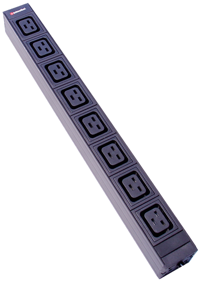 "Power strip 19"" 1U 8xC19 black plug C20"