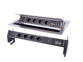 Individually configured power strip (PDU) for installation or mounting on tabletops.