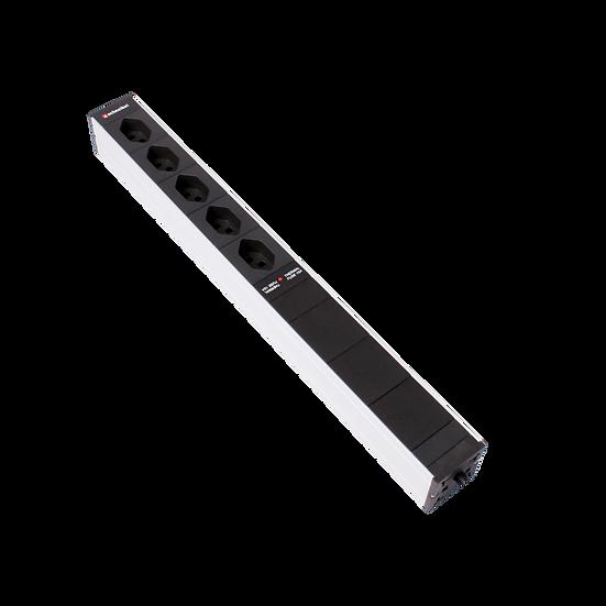"Power Strip 19""1U 5 × T13 black plug T12 with surge protection"