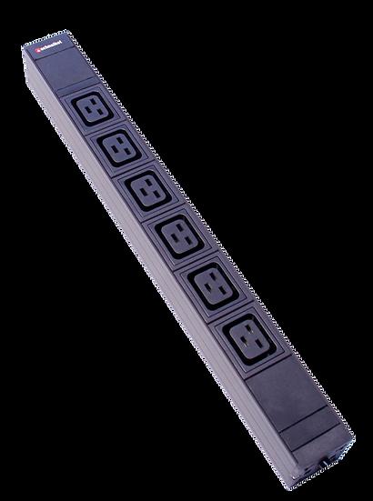 """Power strip 19"""" 1U 6xC19 black plug type F"""
