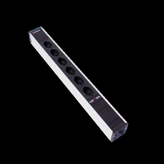 "Power strip 19"" 1U 6 × T13 black plug T12 with protector"