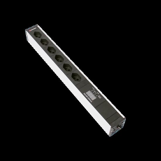 "Power strip 19"" 1U 6 × T23 black plug T23 with power meter"