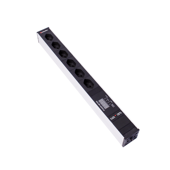 "Power strip 19""1U 6 × T13 black plug T12 with power meter"