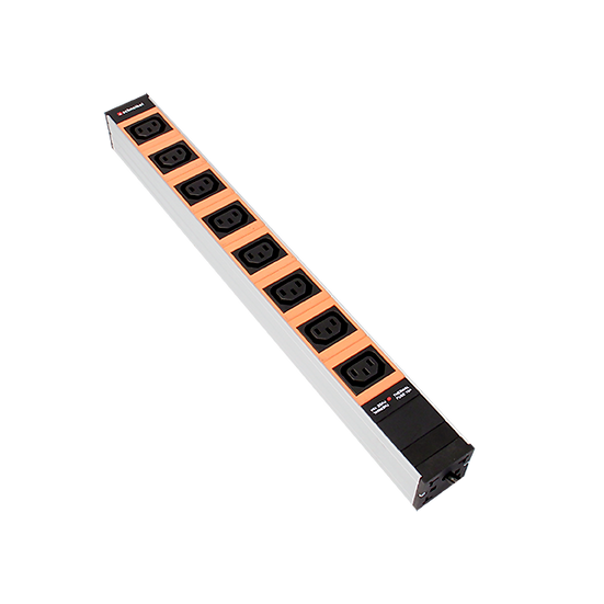 "Power strip 19"" 1U 8xC13 orange plug C20 with protector"