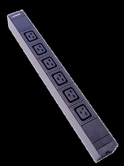 "Power strip 19"" 1U 6 x C19 black plug C20"