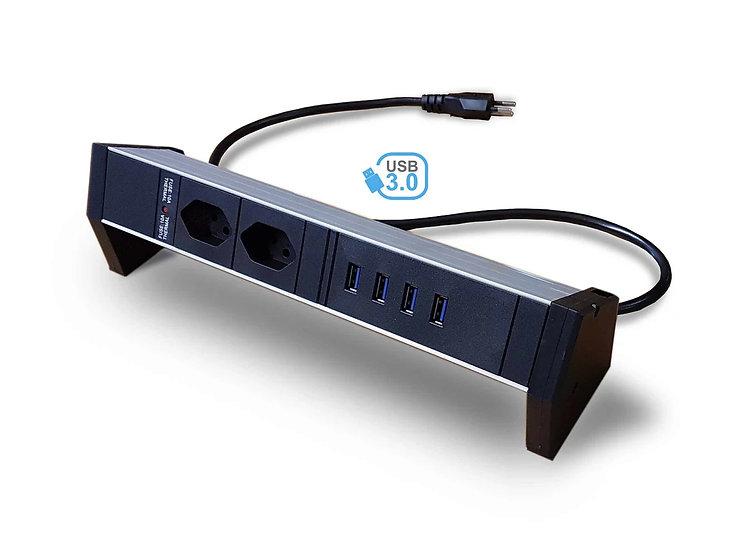 Deskline USB 3.0 Hub Power strip | 2 x T13 | 4 x USB 3.0 | insert black