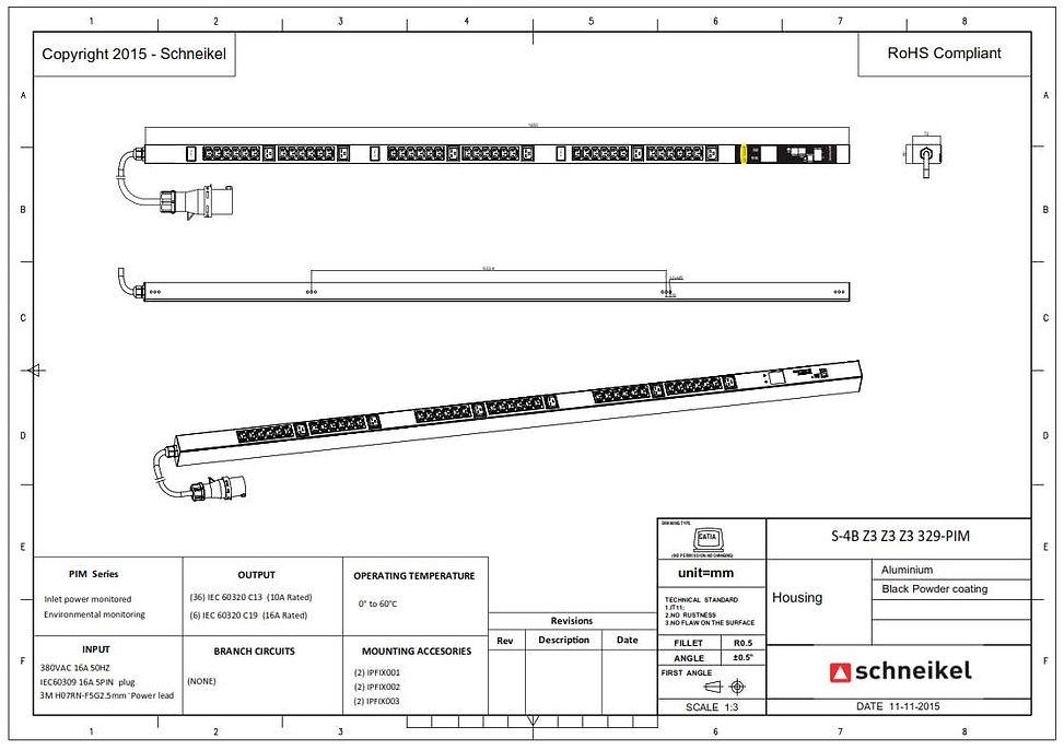 Datacenter PDU, Stromverteiler für Rechenzentrum S-4B Z3 Z3 Z3 329-PIM PDU DE-technical drawing