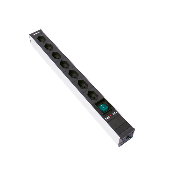"Power strip 19"" 1U 7 × T13 black Plug T12 with switch and protector"