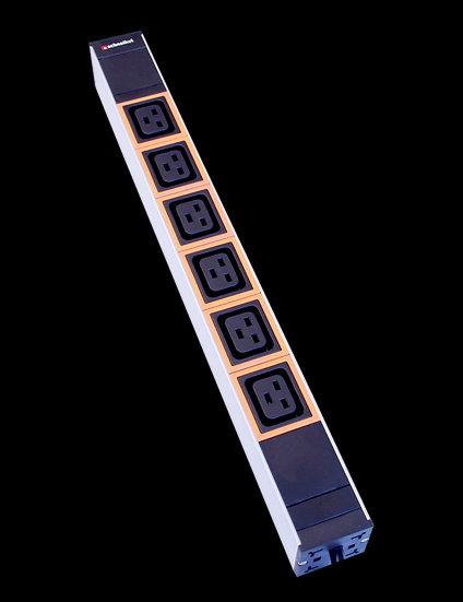 """Power strip 19"""" 1U 6xC19 orange plug C20"""