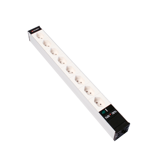 "Power strip 19 ""1U 8 × T13 white Plug T12 with power indicator"