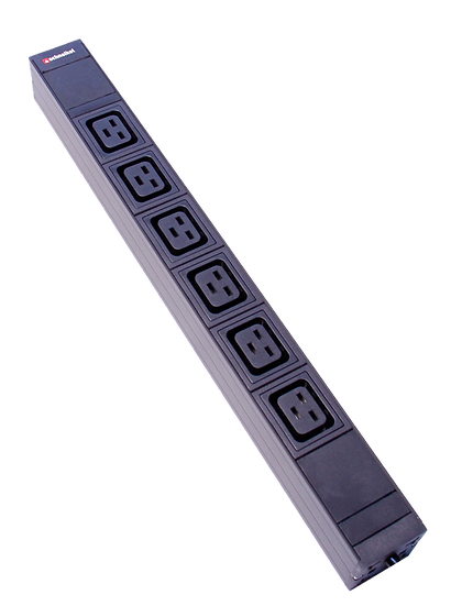 "Power strip 19"" 1U 6xC19 black Plug CEE 16 blue"