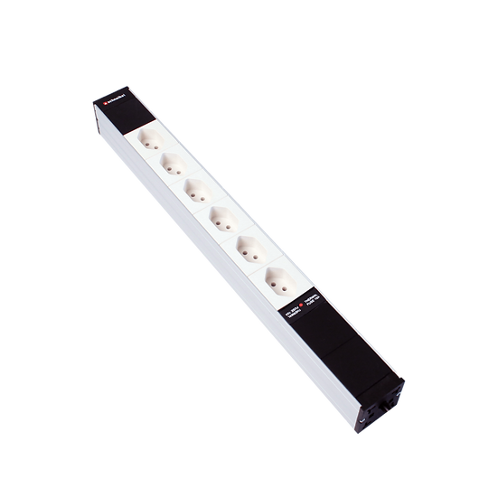 "Power strip 19"" 1U 6 × T13 white Plug T12 with protector"