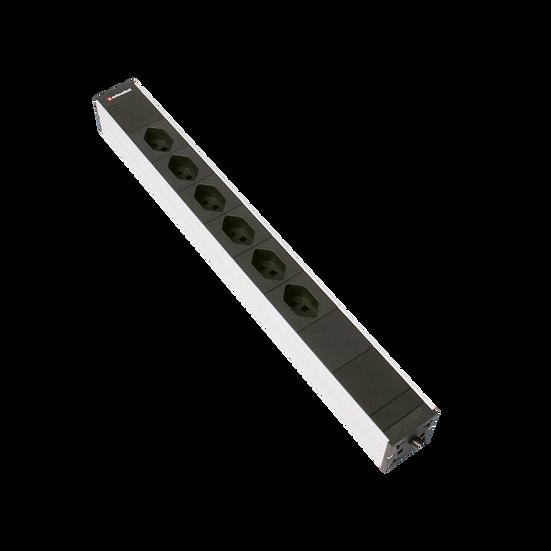 "Power strip 19"" 1U 6 × T23 black plug T23 with mains filter"
