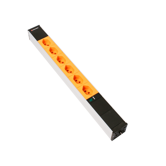 "Power strip 19"" 1U 6 × T23 orange with black plug T23 with power indicator"