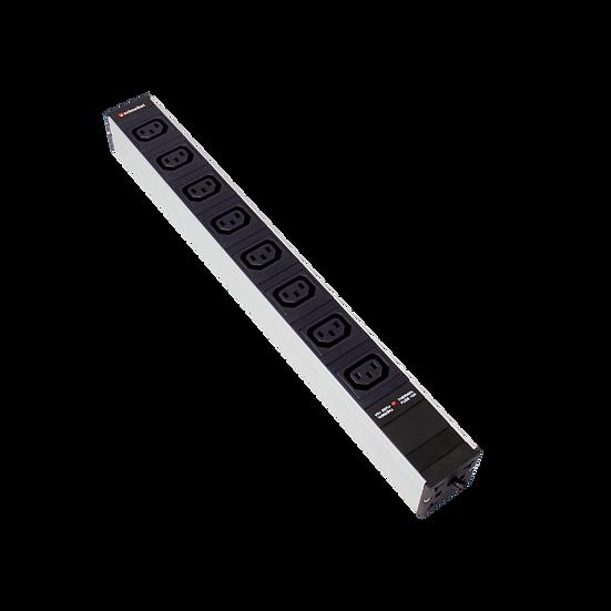 "Power strip 19"", 1U, 8xC13 black plug C14 with protector"