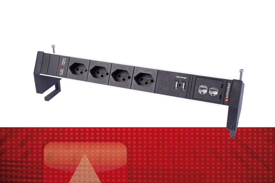 PDU Steckdosenleiste 4×T13 2×RJ45 für Tischanbau