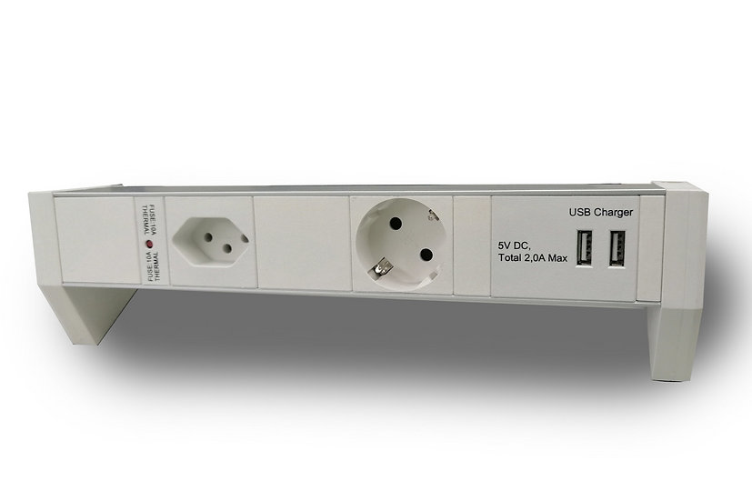 Deskline T13 & Type F PowerStrip with 2 USB Charger ports