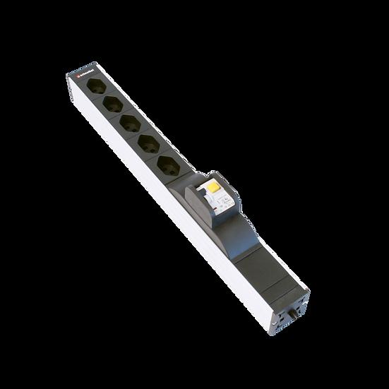 "Power strip 19"" 1U 5 × T23 black plug T23 with FI / LS (RCBO)"