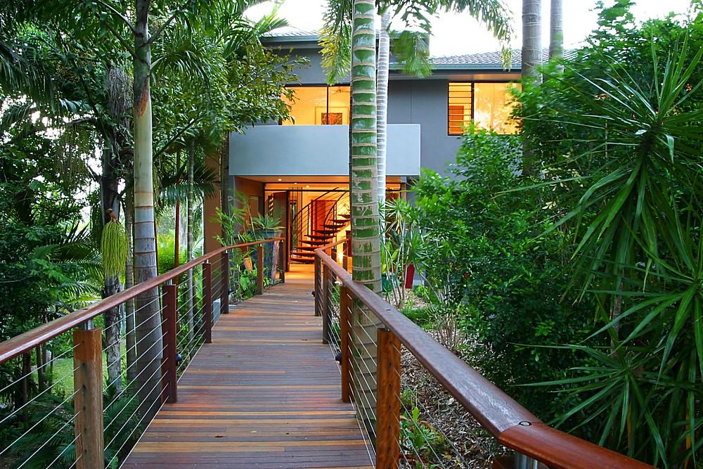 Rainforest walkway ARDH tropical home dream home Adrian Ramsay Design House