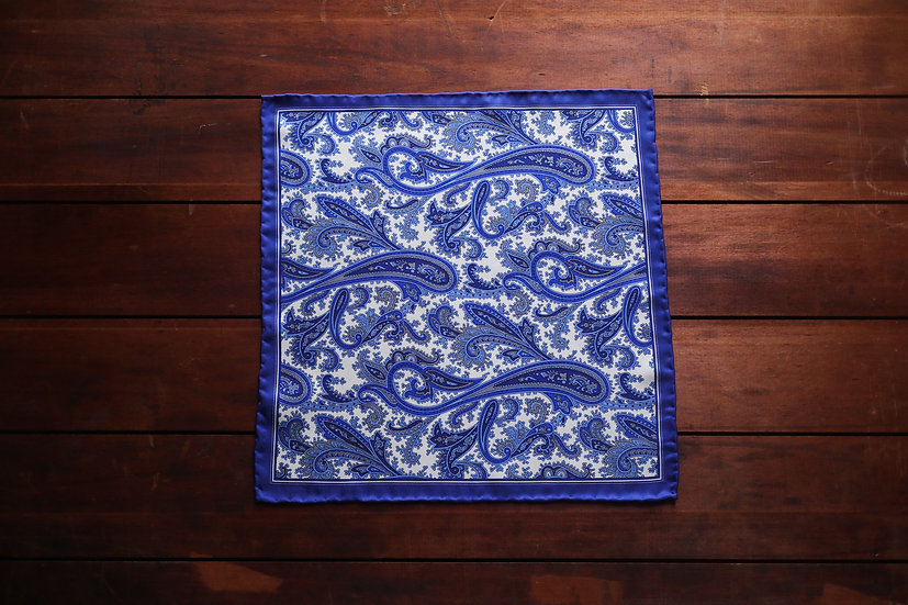 Cobalt Paisley Silk Pocket Square