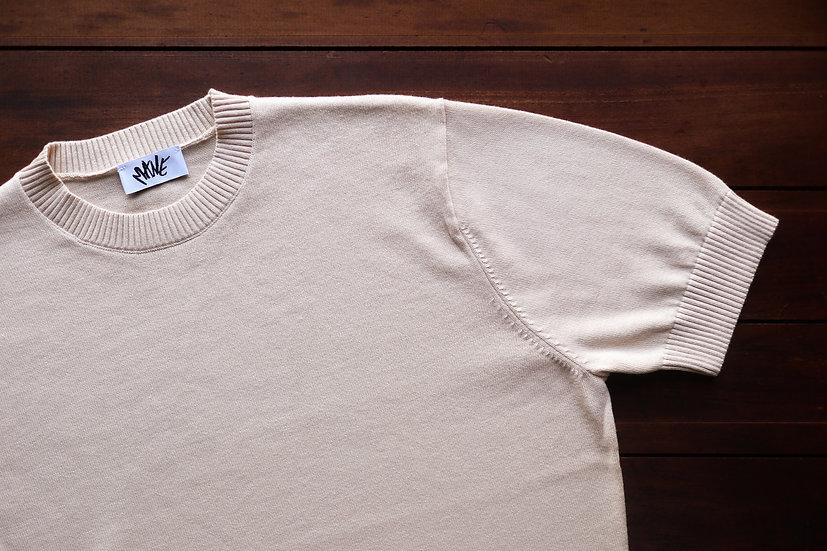 Cream Knitted T Shirt