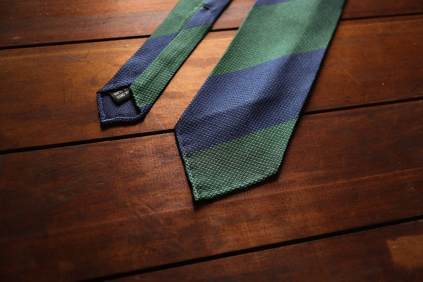 Navy and Green Block Stripe Grenadine Silk Tie