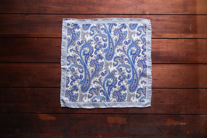 Blue Paisley Silk Pocket Square