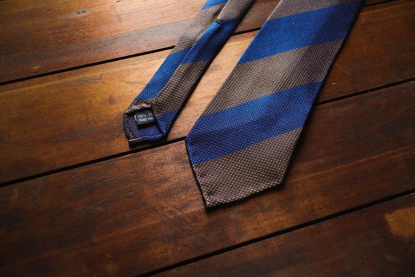 Block Stripe Silk Tie (Navy and Brown)