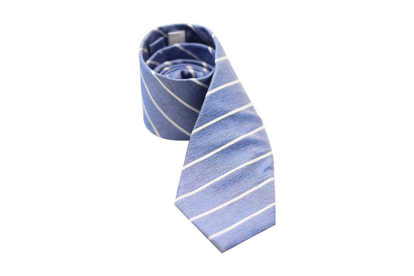Baby Blue and White Stripe Silk Tie