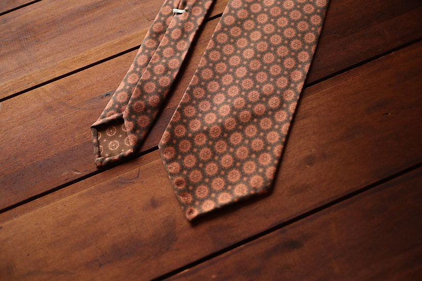 Brown and Orange Silk Tie