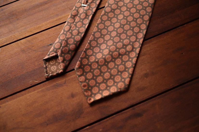 Brown and Orange Silk Tie