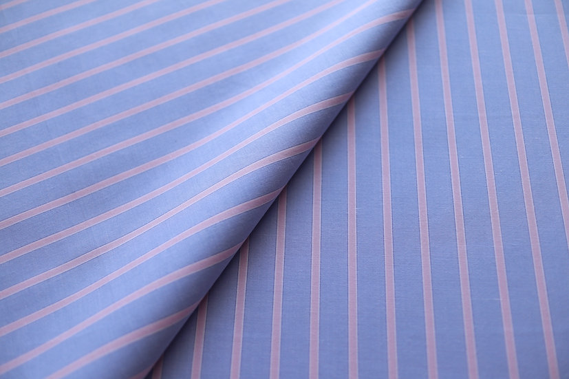 Reverse Pink Stripes on Blue Cotton (2.0m)