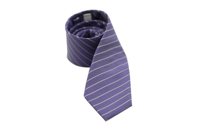 Purple and White Stripe Silk Tie