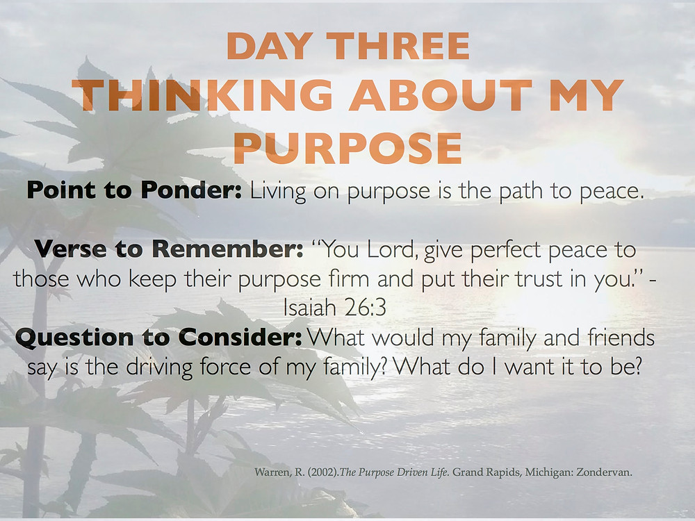 Day 3 Thinking about my purpose