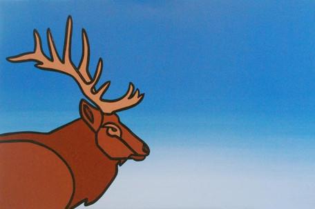 Profile of an Elk on Blue