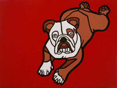Bulldog on Red