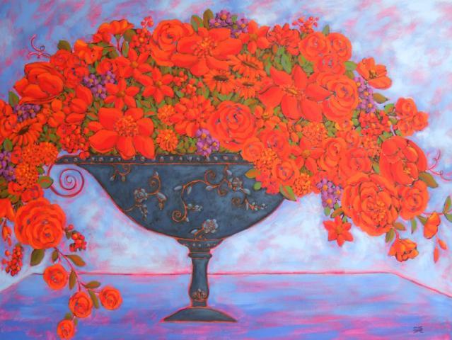 Crimson Blooms With Indigo Vase