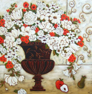 Red & White Blooms With Apples & Pear