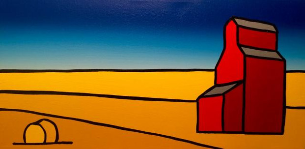 The Red Grain Elevator on the Prairie