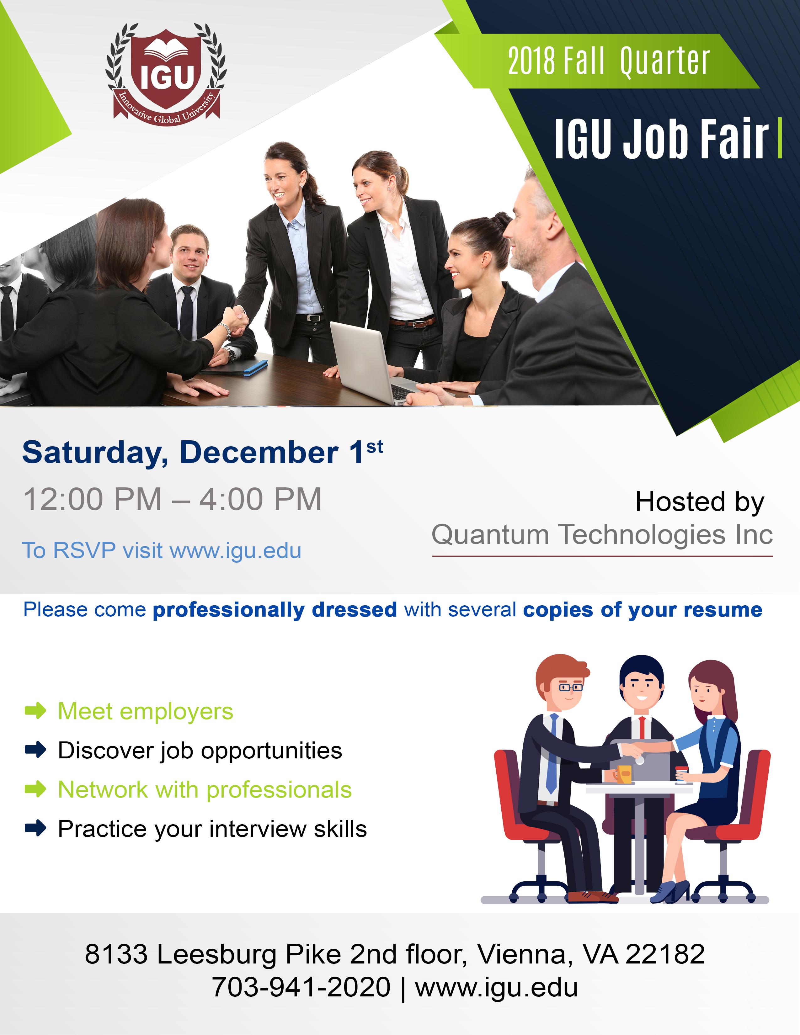 Diversity Career Fair 2020.Igu Job Fair 2018 Fall