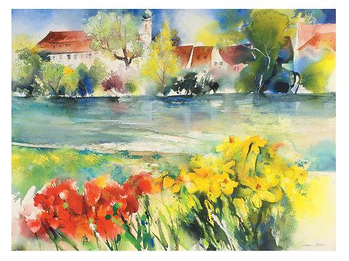 """Original Bild """"Osterglocken und Tulpen am Neckar mit Blick aufs Karmeliterkloste"""