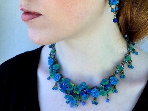 Bright Blue Monet Lillies Necklace