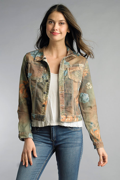 Floral Denim Jacket-Reversible