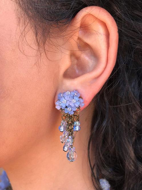 Pink/Purple Hydrangea Clip Earrings