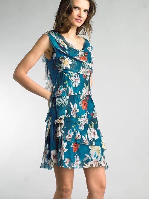 Silk Tiered Floral Dress.