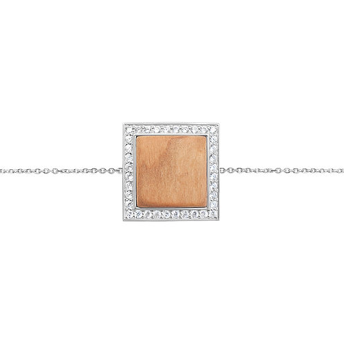 Quadratum Bracelet White Zircon and Cherry Wood