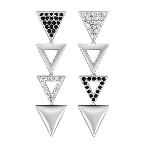 Triangulum Long Earrings / Black & White