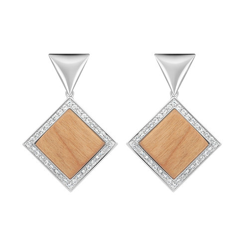 Quadratum Triangulum Earrings / White Zircon and Cherry Wood